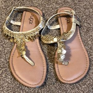 Sparkling Gold Chain Sandals